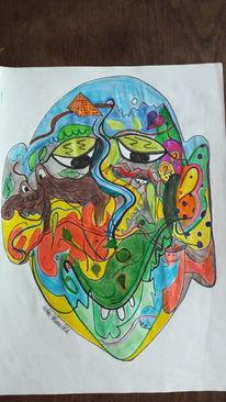 Gesicht, Chamäleon, Schmetterling, Malerei