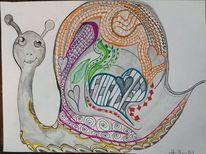 Herz, Bunt, Schnecke, Malerei