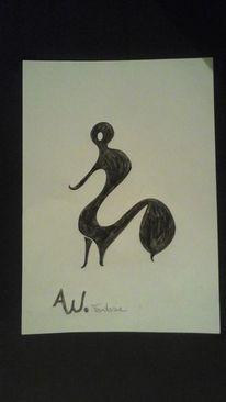 Zeichnung, Mischtechnik, Abstrakt, Zeichnungen