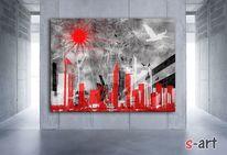 Urbanität, Fotografie, Leben, Rot