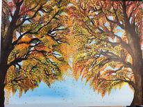Malerei, Rot schwarz, Grün, Herbst