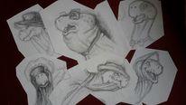 Konzept, Karikatur, Tierzeichnung, Skizze