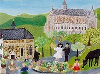 Altenberger dom, Menschen, Naive malerei, Hochzeit