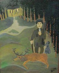 Figural, Jäger mit hirsch, Portrait, Malerei