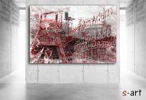 Bochum, Kohlezeichnung, Digitale kunst, Zeche