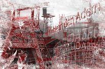 Digitale kunst, Bochum, Bermuda, Kohlezeichnung