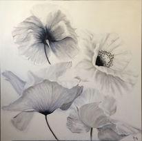Mohnblumen schwarz, Weiß, Malerei, Natur