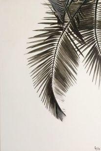 Palmblätter, Schnitt, Ölmalerei, Schwarz weiß