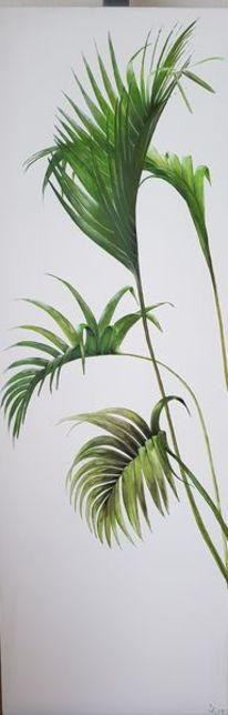 Palmen, Grün, Malerei, Blätter