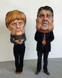 Portrait, Merkel, Maske, Schwellköpfe