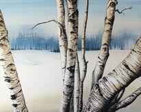Kälte, Schnee, Birken, Entfernung