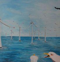 Vogel, Ostsee, Blau, Schaum