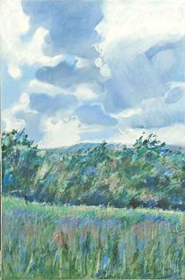 Mischtechnik, Blau, Landschaft, Natur