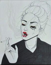 Rauch, Portrait, Schwarz, Zigarette