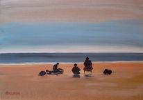 Malerei, Strand, Landschaft, Meer