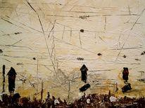 Malerei, Bahnhof, Landschaft, Ocker