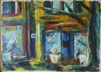 Malerei, Landschaft, Blau, Stadt