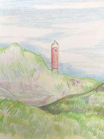 Dünen, Leuchtturm, Himmel, Zeichnungen