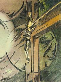 Zeichnung, Braun, Kreuz grün, Aquarellmalerei