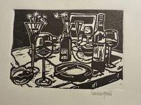 Jahreszeitenkalender, Glas, Stuhl, Flaschen tisch