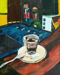Stadt, Glas, Bar, Malerei