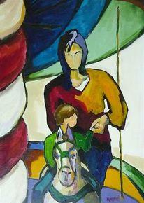 Kind, Malerei, Stadt, Menschen