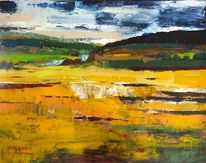 Malerei, Landschaft, Spanisch, Ocker