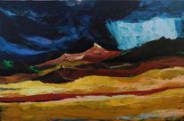 Hügel, Blau, Unwetter, Ocker