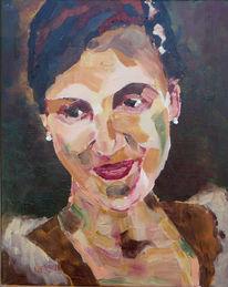 Braun, Rot, Frau, Portrait