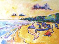 Malerei, Meer, Landschaft, Gelb