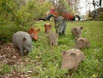 Familie, Figur, Tiere, Skulptur