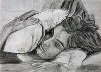 Bett, Bleistiftzeichnung, Nachdenklich, Viola