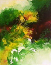 Urwald, Farbentornado, Malerei