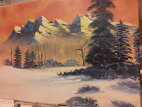 Baum, Winterlandschaft, Berge, Malerei