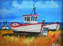 Sand, Fischerboot, Gras, Meer