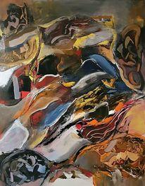 Gemälde, Gold, Abstrakte kunst, Blau