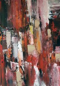 Gemälde, Moderne malerei, Rot, Gold