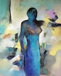 Moderne malerei, Zeitgenössische malerei, Frau, Gemälde abstrakt