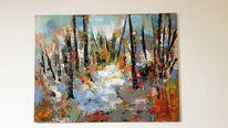 Abstrakte kunst, Acrylmalerei, Landschaft, Zeitgenössische malerei
