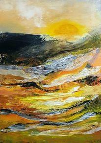 Moderne malerei, Gemälde, Landschaft, Acrylmalerei