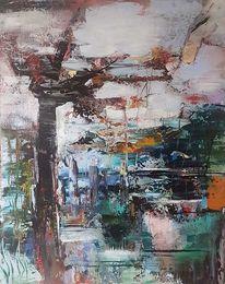 Abstrakte malerei, Moderne malerei, Acrylmalerei, Landschaft