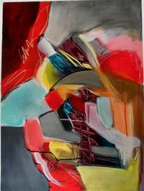 Mischtechnik, Abstrakte kunst, Rot, Gelb