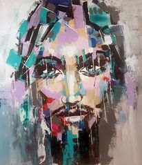 Abstrakte kunst, Gemälde abstrakt, Gesicht, Mann