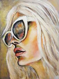 Moderne malerei, Zeitgenössische malerei, Gesicht, Portrait