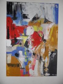 Moderne malerei, Rot, Abstrakte malerei, Blau