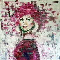 Gesicht, Öl malerei, Frau, Kunstwerk