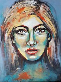 Porträtmalerei, Frau, Moderne kunst, Acrylmalerei
