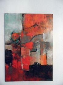 Gemälde, Abstrakte kunst, Spachteltechnik, Rot