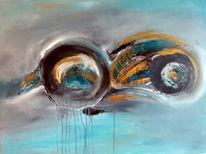 Abstrakte kunst, Spachteltechnik, Blau, Abstrakte malerei