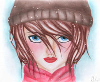 Mädchen, Winter, Zeichnung, Manga